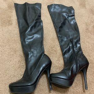 Black leather knee high platform boots size 6.5/7